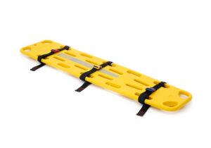Gelbes Spineboard X-Straight mit Gurten